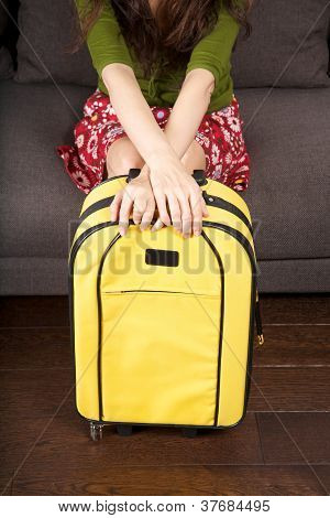 Yello Trolley In Woman Sitting Hands