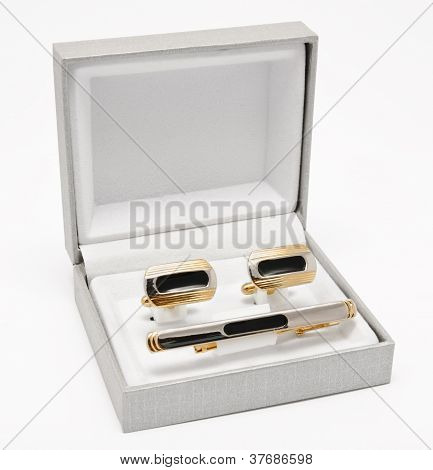 Cuff Links And Tie Clip On The Box Isolated On White