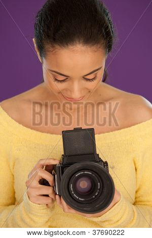 Woman Using Vintage Box Camera