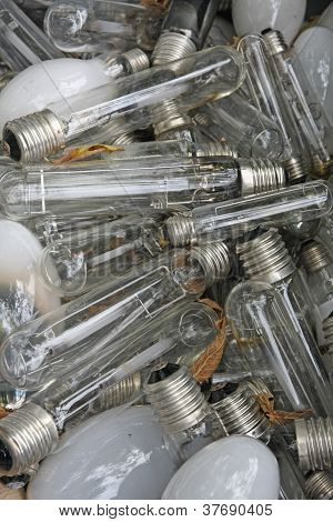 Broken Bulbs And Burned In The Dump Of The Glass