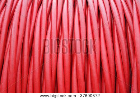 Storage Of Red Cord Coiled Around A Coil