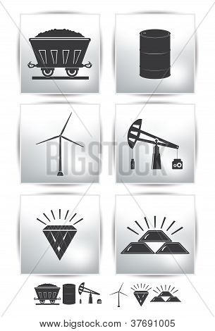 Vector set icons. Gray collection oil