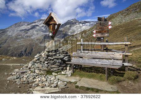 Wayside shrine in the italian alps, Europe