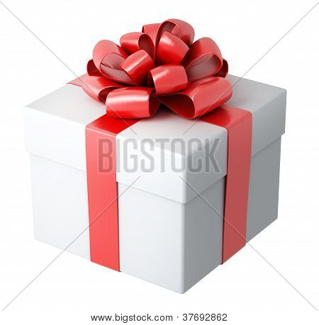 white gift with the red ribbon