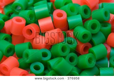 Red And Green Plastic Beads