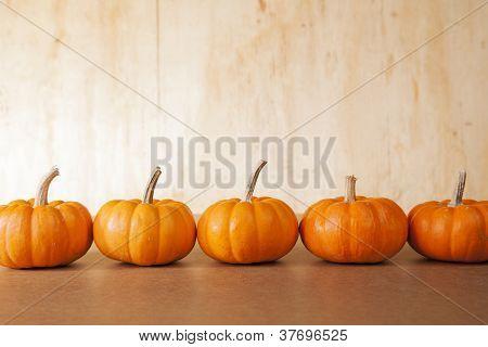 5 Orange Pumpkins In A Row