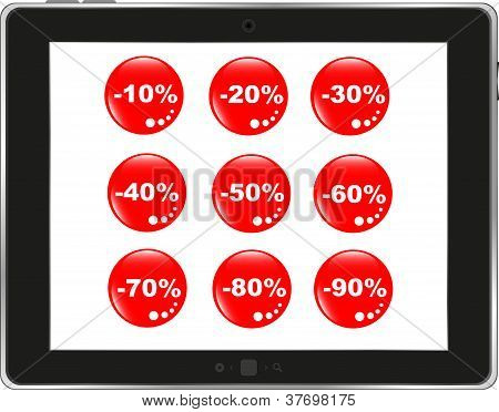 Business dashboard with a sale stickers in a pc tablet