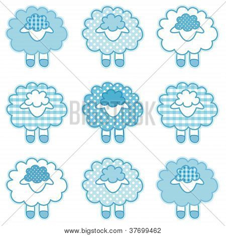 Baby Lambs, Patchwork Gingham and Polka Dots, Pastel Aqua
