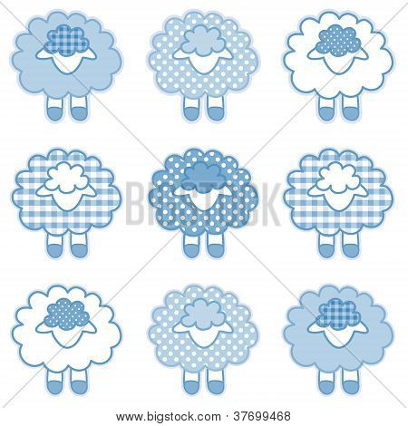 Baby Lambs, Patchwork Gingham and Polka Dots, Pastel Blue