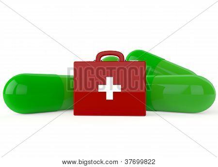 Red First Aid Kit With Green Capsules