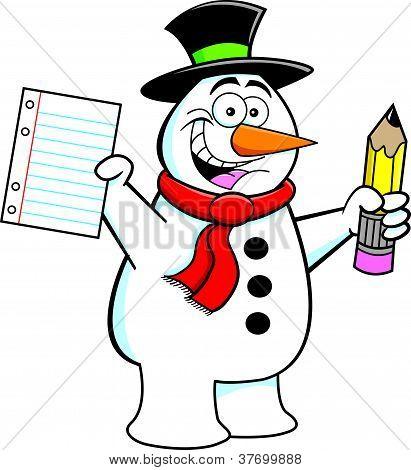 Cartoon Snowman Student