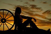 Woman Cowgirl Wagon Silhouette