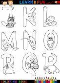 Постер, плакат: Мультфильм алфавит с животными для раскраски