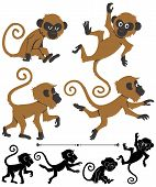 pic of baby-monkey  - Cartoon monkey in 4 different poses. Below are silhouette versions of the same poses. 