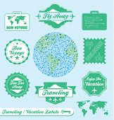 image of bon voyage  - Collection of retro style travel agency labels and badges - JPG