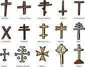 stock photo of maltese-cross  - Set of historically accurate crosses representing various Christian churches - JPG