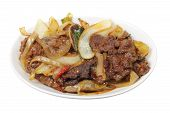 foto of mongolian  - Plate of Mongolian Beef on White Background - JPG
