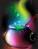 image of cauldron  - Cauldron with a boiling magic potion on an abstract mystical background - JPG