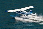 picture of float-plane  - Small seaplane used to guide tourists around Alaska landscape - JPG