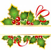 stock photo of holly  - Christmas frame with red curves and Holly Berry  - JPG