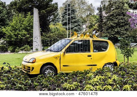 Destroyed Fiat Seicento In Montreux