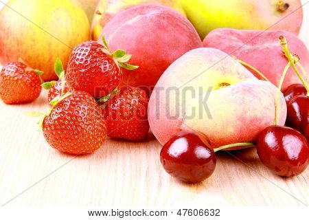 Platt Peach, Cherries, Strawberries, Apples And Mango