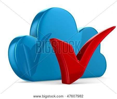 Cloud and checkmark on white background. Isolated 3D image