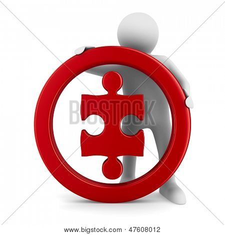 Puzzle into circle on white background. Isolated 3D image