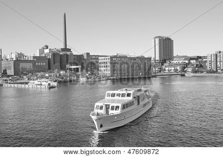 Black and white Landscape of a Ship in Tampere harbour in Finland.