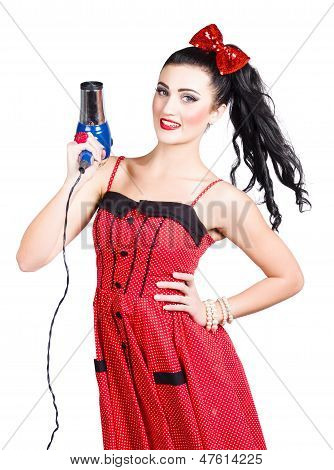 Beauty Style Portrait Of A Elegant Hairdryer Woman