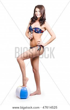 Beach Volleyball Girl Standing On Beach Ball