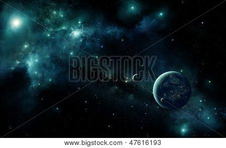 Постер, плакат: Иллюстрация обитаемых чужой планеты в космосе с голубой туманность и звёзд Огни города Ар, холст на подрамнике