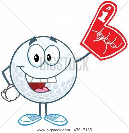 Smiling Golf Ball With Foam Finger