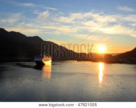 Juneau Alaska Cruiseship Sunset