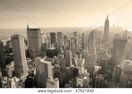 New York City skyline black and white in midtown Manhattan aerial panorama view in the day.