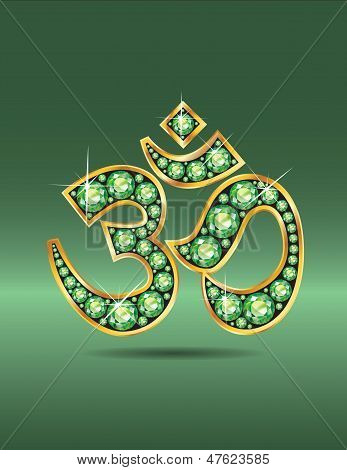Om Symbol In Gold With Peridot Stones