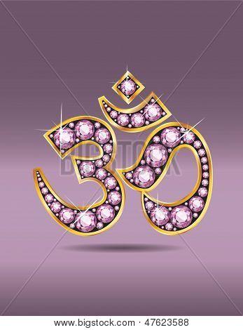 Om Symbol In Gold With Rose Quartz Stones
