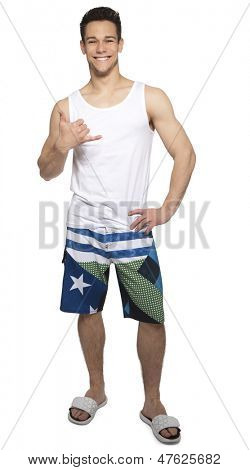 Happy Man Gesturing Call Sign On White Background