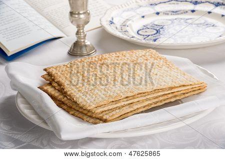 Closeup Of Matzah On Plate