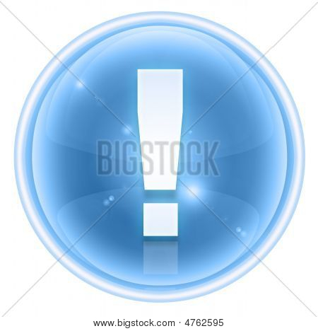Exclamation Symbol Icon Ice, Isolated On White Background