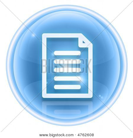 Document Icon Ice, Isolated On White Background