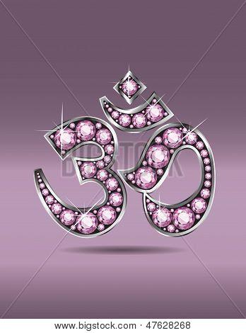 Om Symbol In Silver With Rose Quartz Stones