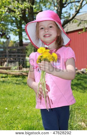Little Girl with Bouquet of Flowers