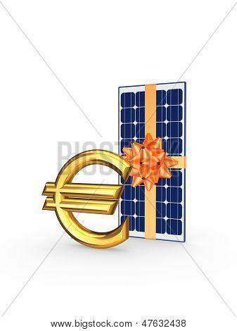 Solar battery and symbol of euro.
