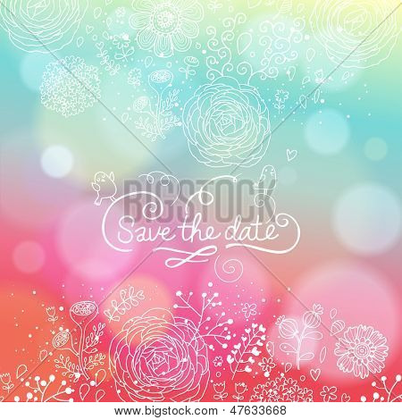 Bright wedding invitation in vector. Delightful Save the Date card in modern style. Adorable romantic card with lovers, heart and bokeh