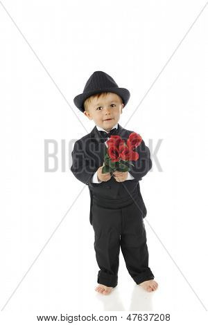 An adorable barefoot toddler in a black tuxedo happily carrying a bouquet of red roses.  On a white background.