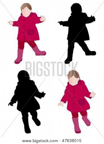 toddler wearing raincoat and boots