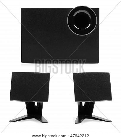 Sound System With Two Speakers And Subwoofer