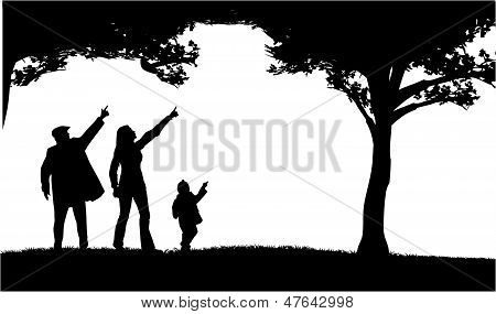 Silhouettes Of The Parents And Children