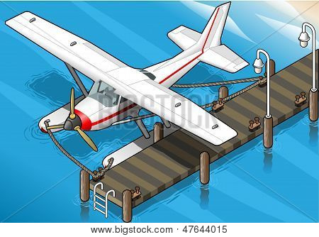 Isometric Seaplane Moored At The Pier In Front View